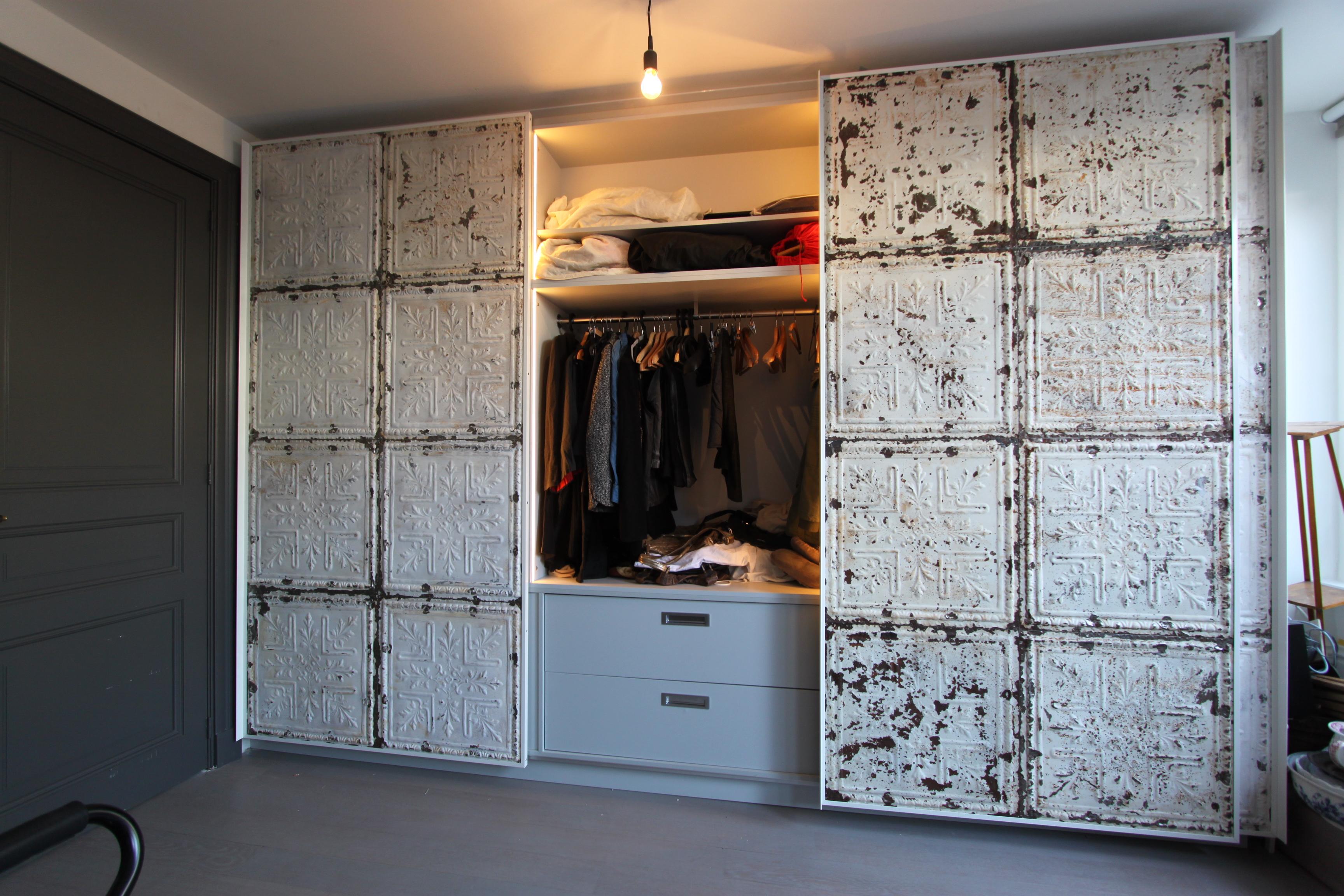 Garderobekast Schuifdeur Wit.3019 2 Schuifdeur Garderobekast Wit Brocante Panelen 2d W