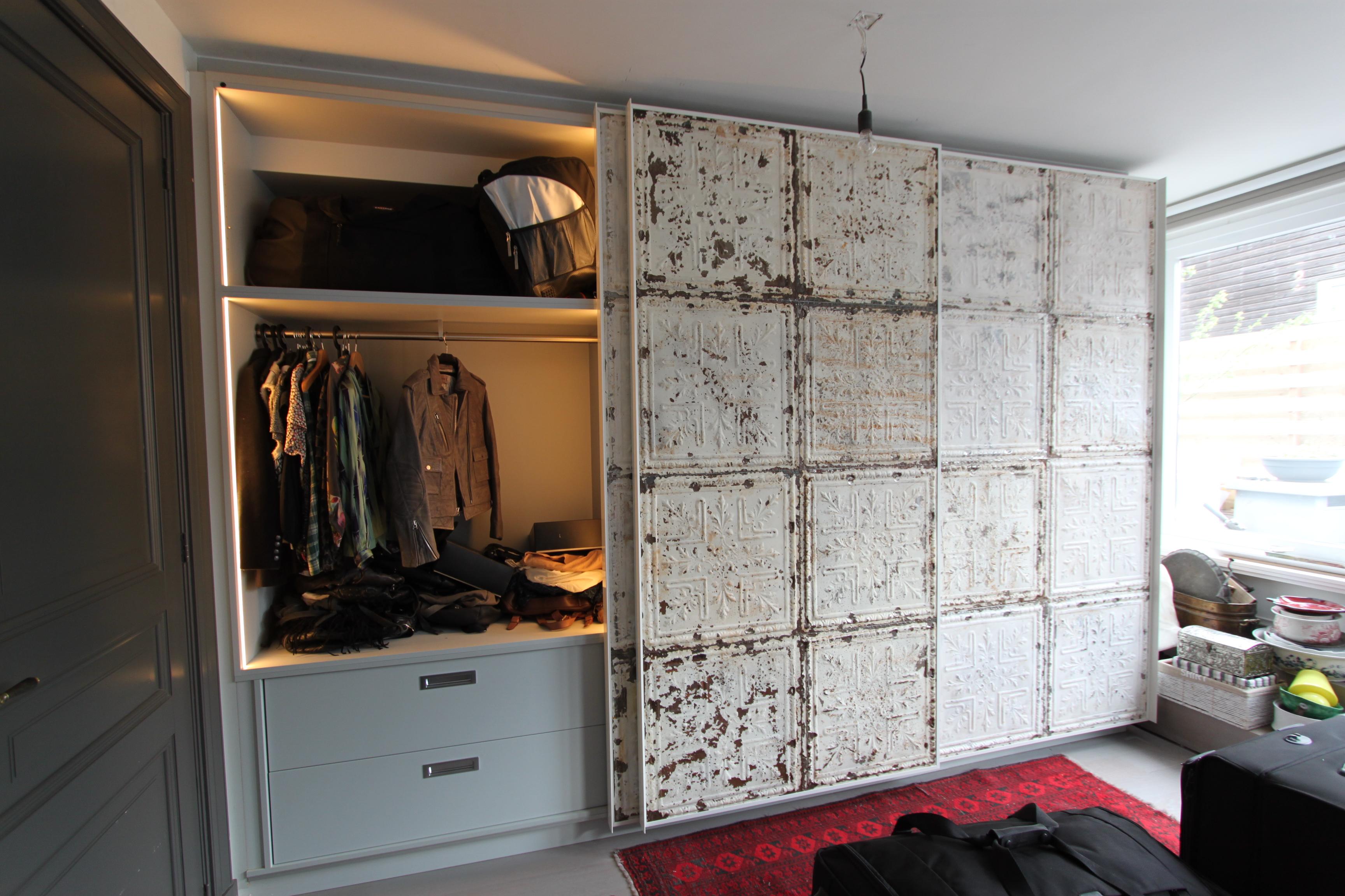Garderobekast Schuifdeur Wit.3019 3 Schuifdeur Garderobekast Wit Brocante Panelen 2d W
