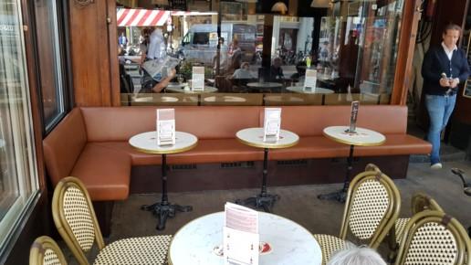 bruin achtig serre bank restaurant, meubelmaker amsterdam cabinetmaker custom handmade furniture op maat gemaakt maatwerk meubels