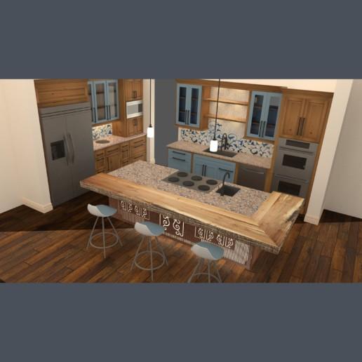 rendering van een keuken met mozaïek en houten vloer, meubelmaker amsterdam cabinetmaker custom handmade furniture op maat gemaakt maatwerk meubels