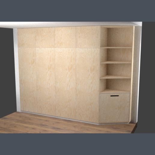 rendering van underlayment wandkast met open leg gedeelte, meubelmaker amsterdam cabinetmaker custom handmade furniture op maat gemaakt maatwerk meubels