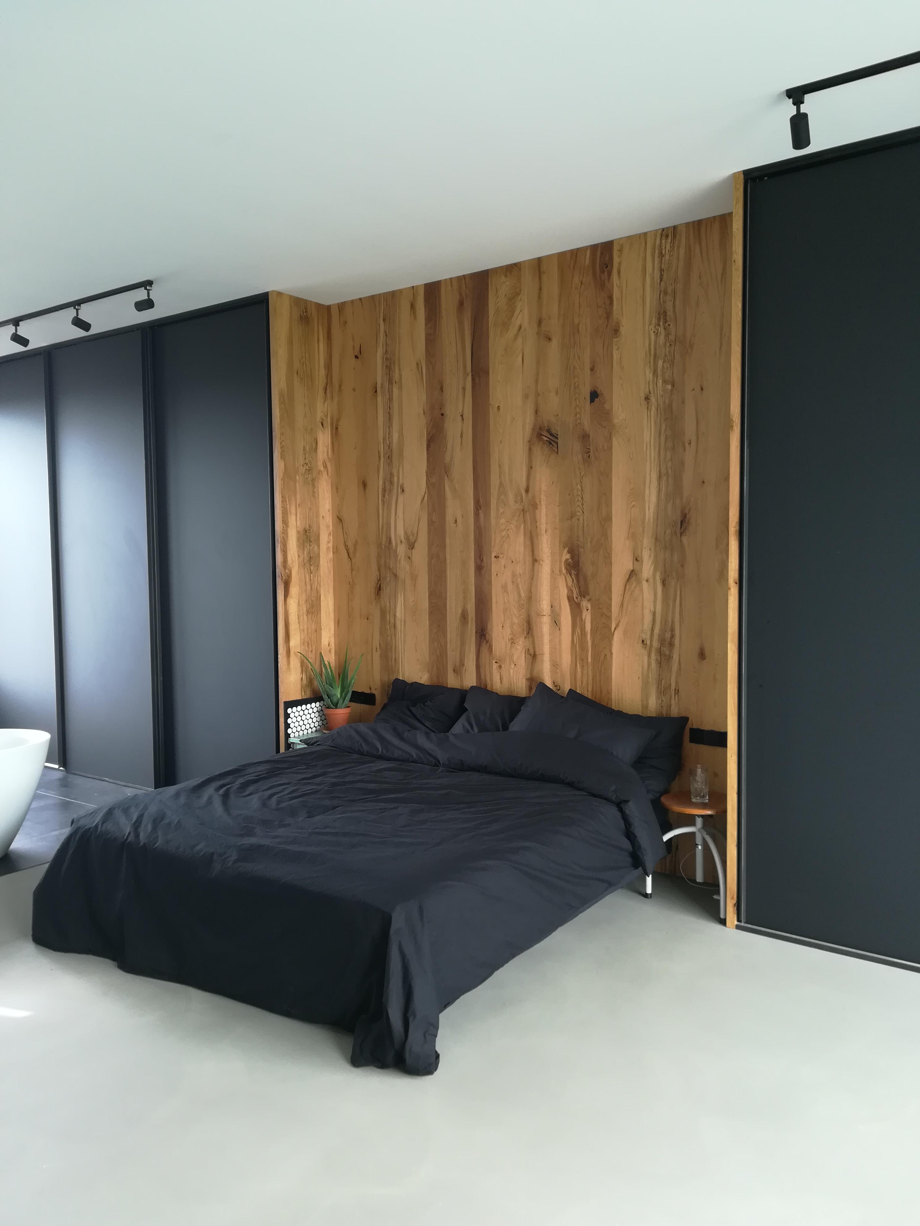 Wandmeubel Voor Badkamer.Slaapkamer Met Wandkasten En Open Badkamer 2d W