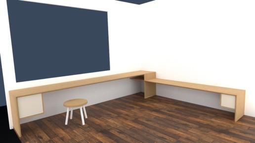 rendering render bureau woonkamer massief meubelmaker amsterdam cabinetmaker custom handmade furniture op maat gemaakt maatwerk meubels