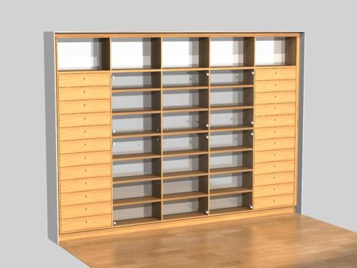 rendering render boekenkast massief grenen meubelmaker amsterdam cabinetmaker custom handmade furniture op maat gemaakt maatwerk meubels