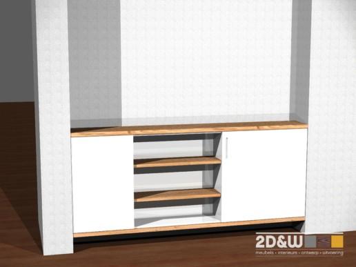 rendering render tv meubel wit massief hout meubelmaker amsterdam cabinetmaker custom handmade furniture op maat gemaakt maatwerk meubels