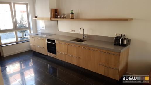 Keuken van eiken met een betonnen aanrechtblad. meubelmaker amsterdam cabinetmaker custom handmade furniture op maat gemaakt maatwerk meubels